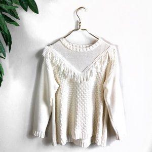 Revolve SomeDays Lovin' • Cream Fringe Sweater.